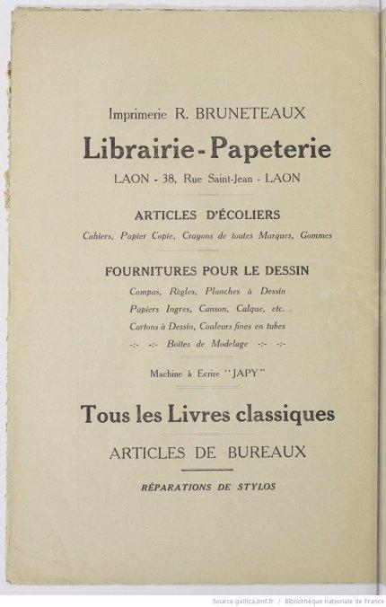 Publicité de 1936 bruneteaux
